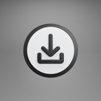 Botón de descarga. aislado sobre fondo gris. representación 3d