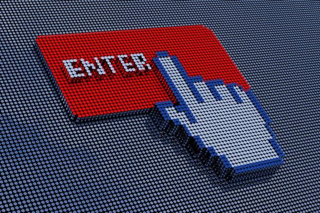 Botón de entrada de estilo pixel art. representación 3d