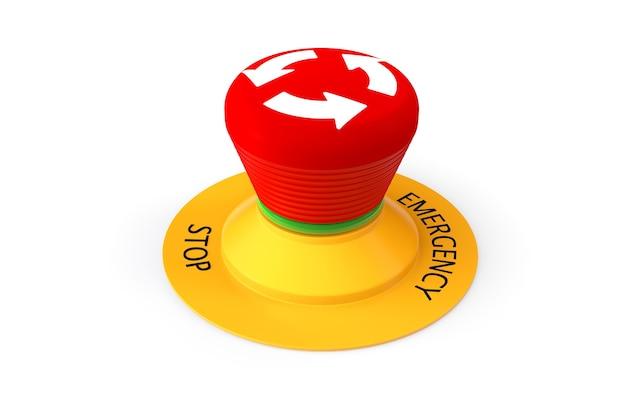 Botón de parada de emergencia rojo sobre un fondo blanco.