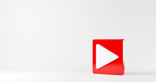 Botón de reproducción rojo icono de video signo de medios sociales símbolo de jugador logo 3d rendering ilustración
