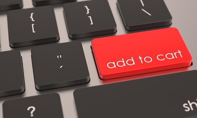 Botón rojo agregar al carrito en el teclado de la computadora icono de compras en línea de comercio electrónico fondo comercial
