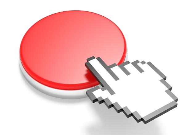 Botón rojo con cursor de mano. representación 3d
