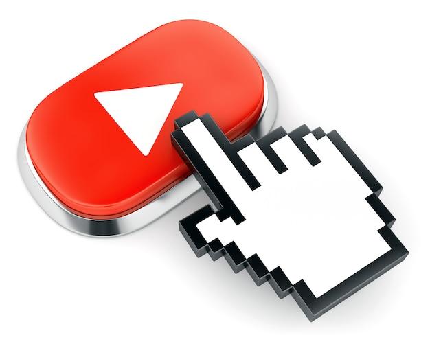 Botón rojo del reproductor de video web y cursor en forma de mano