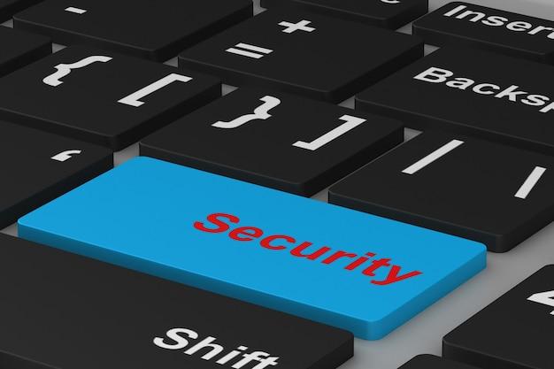 Botón de seguridad en el teclado. ilustración 3d