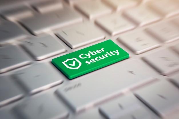 Botón verde de seguridad cibernética en el teclado. Foto Premium