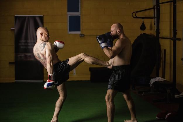 Boxeadores tailandeses practicando boxeo