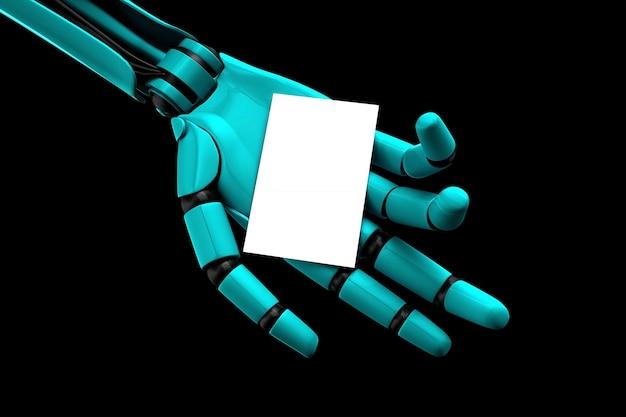 El brazo robot que alimenta una tarjeta de visita en blanco.