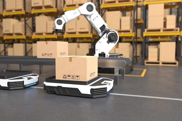 El brazo del robot recoge la caja a autonomous