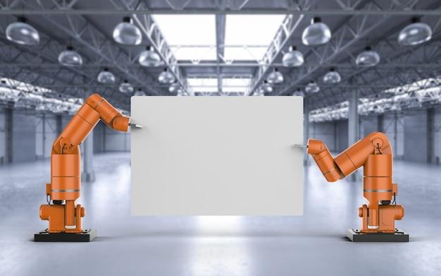 Brazo de robot de renderizado 3d sosteniendo papel en blanco blanco en la fábrica.