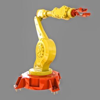 Brazo robótico amarillo en una fábrica.