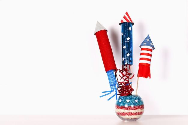 Bricolaje el 4 de julio decoración de color bandera americana, rojo, azul, blanco. idea de regalo, decoración usa día de la independencia