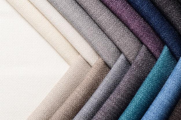 Brillante colección de muestras textiles gunny. fondo de textura de tela.