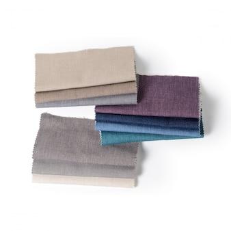 Brillante colección de muestras textiles gunny. textura de la tela.