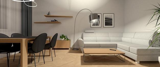 Brillante interior de la sala de estar en la noche con iluminación adicional.