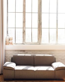Brillante salón minimalista con cómodo sofá.