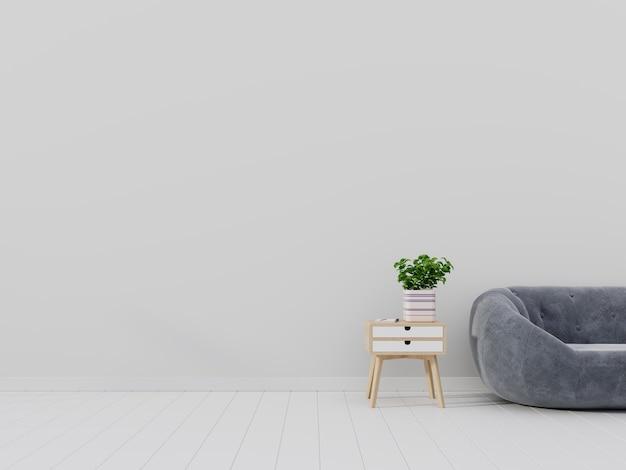 Brillante y acogedor interior de la sala de estar moderna con sofá y flor en el gabinete