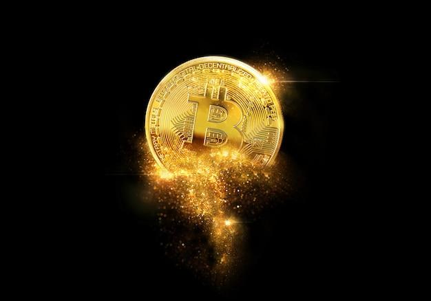 Brillo dorado de bitcoins
