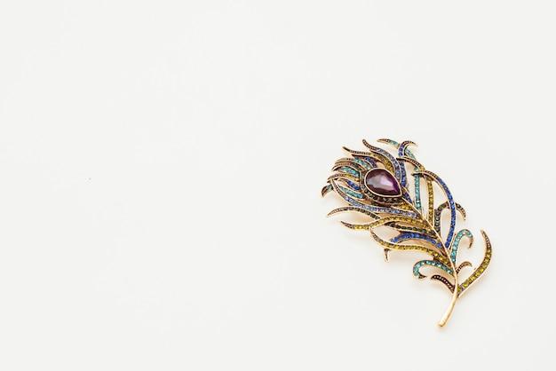 Broche en forma de pluma de pavo real en pared blanca