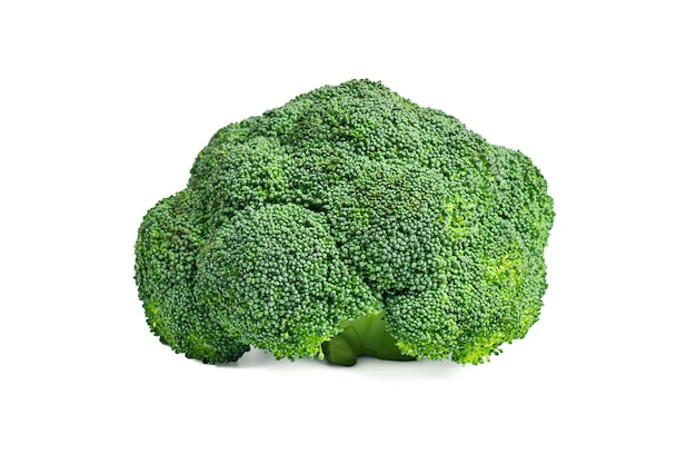Brócoli amarillo sobre un fondo blanco