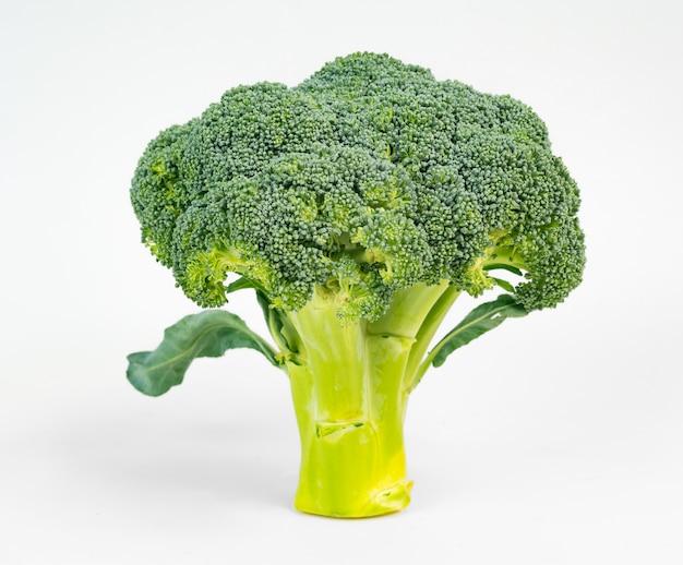 Brócoli que recuerda la forma de un árbol aislado en blanco