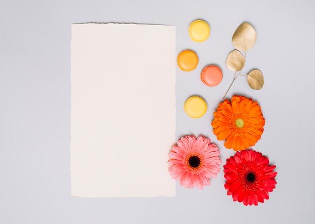 Brotes de flores con las galletas y el papel en la tabla blanca