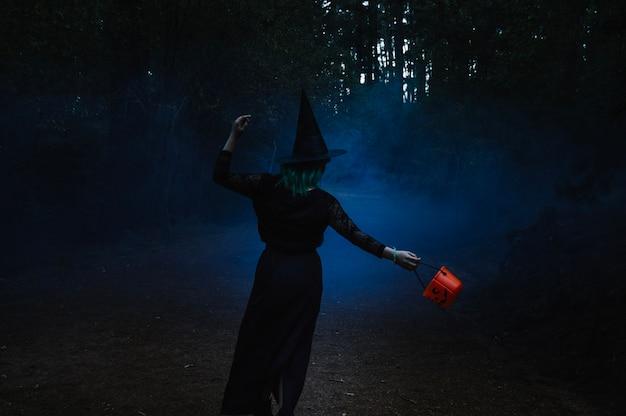 Bruja caminando por el bosque brumoso