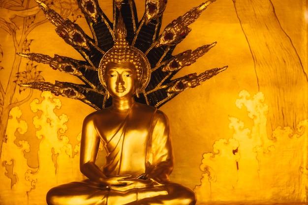 Buda de oro asiático con 9 cabezas serpiente de naga protegerlo del demonio en el templo tailandés