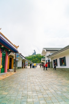 El buda tian tan, también conocido como el gran buda, es una gran estatua de bronce de un buda sakyamuni y se encuentra en la isla ngong ping lantau en hong kong.