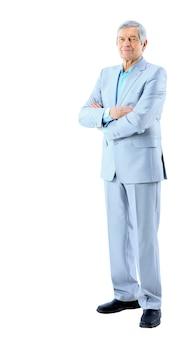 Buen hombre de negocios a la edad de. aislado en un fondo blanco.