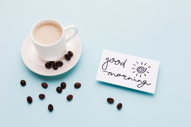 Buenos dias mensaje con cafe