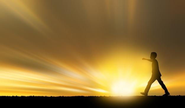 Búfalo de tailandia de la vida, niños, gente. de un campo en la puesta del sol.
