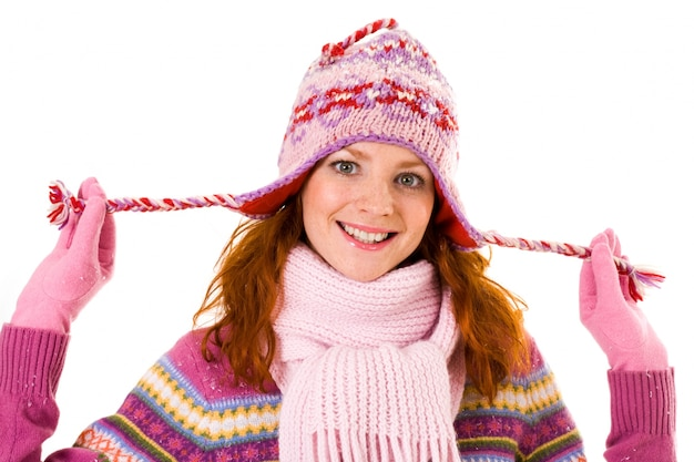 Bufanda de invierno enero contenta humana