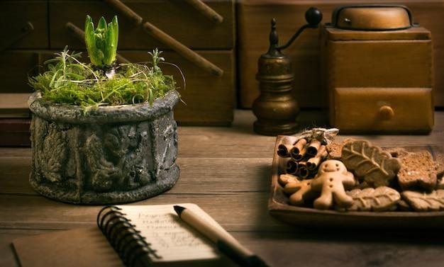 Bulbo de jacinto joven en la mesa de la cocina con plato de galletas
