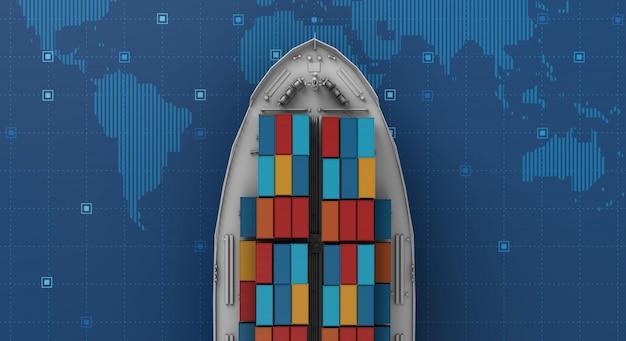 Buque de carga de contenedores en logística de negocios de exportación e importación en mapa del mundo digital