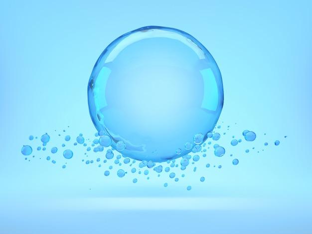 Burbuja de agua azul flotando
