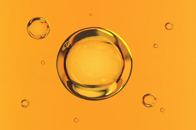 Burbujas de agua sobre fondo amarillo render 3d