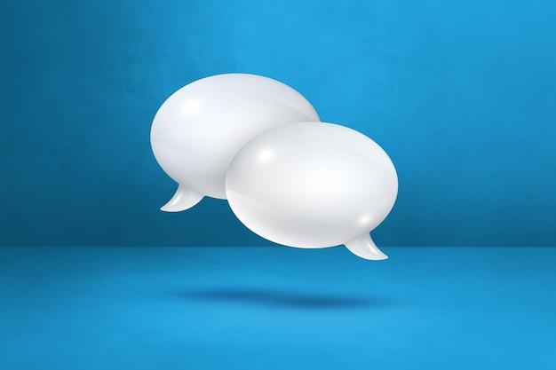 Burbujas de discurso blanco 3d aisladas sobre fondo azul