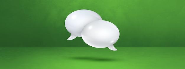 Burbujas de discurso blanco 3d aisladas sobre fondo verde de la bandera