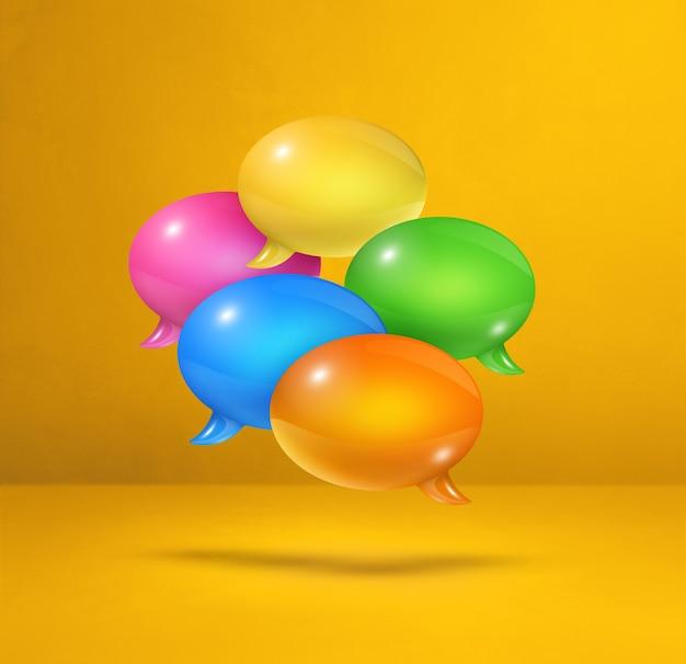 Burbujas de discurso multicolor 3d aisladas sobre fondo cuadrado amarillo