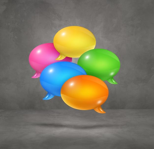 Burbujas de discurso multicolor 3d aisladas sobre fondo cuadrado gris