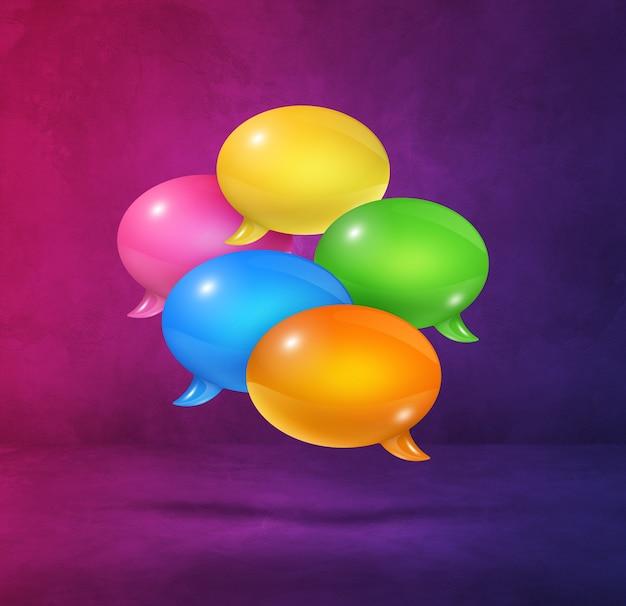 Burbujas de discurso multicolor 3d aisladas sobre fondo cuadrado púrpura