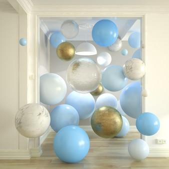 Burbujas flotantes surrealistas en una representación 3d del corredor