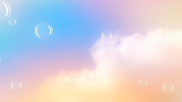 Burbujas de fondo pastel en el cielo