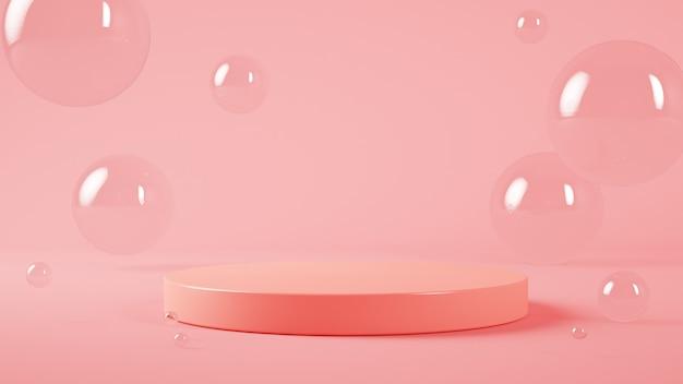 Burbujas mínimas y escenario de plataforma.