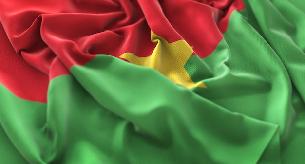 Burkina faso bandera bandada de pájaros primer plano