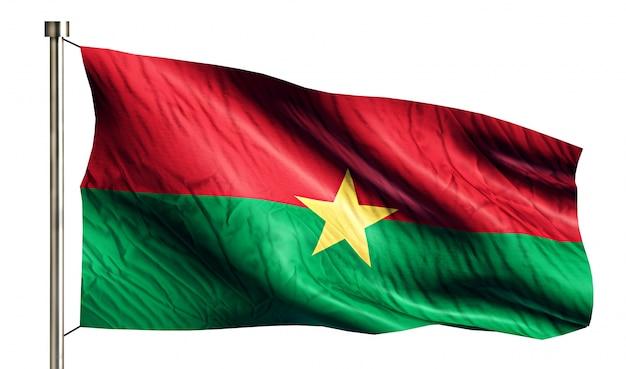 Burkina faso bandera nacional aislado 3d fondo blanco