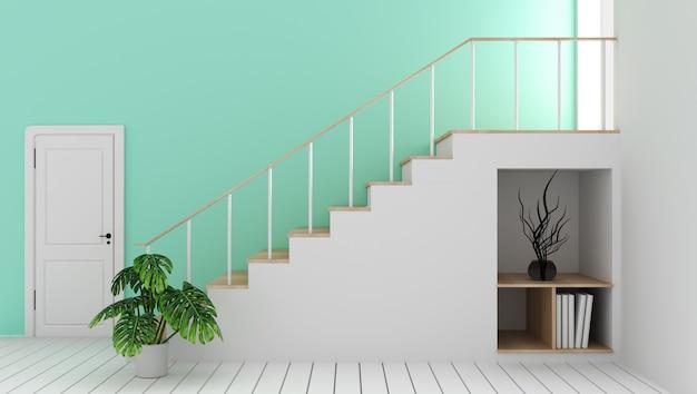 Se burlan de la habitación vacía de menta con escalera y decoración, estilo zen moderno