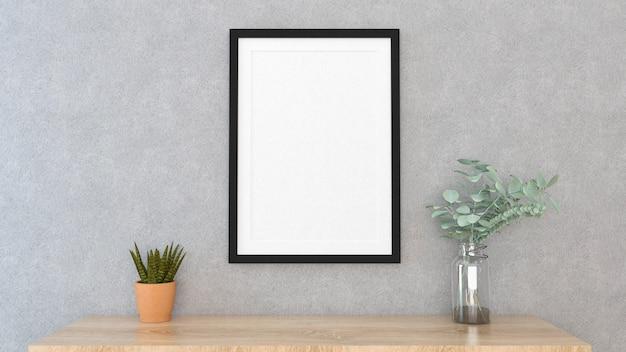 Se burlan del marco del cartel con fondo interior, render 3d