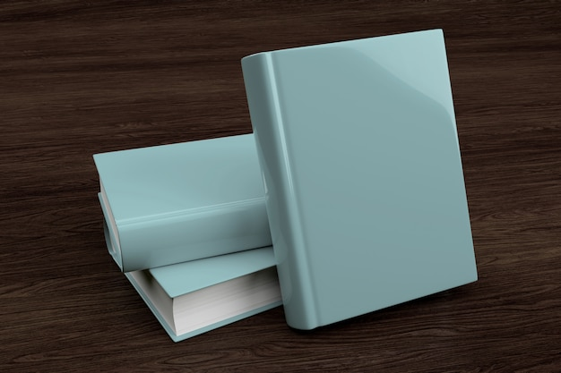 Se burlan de una pila de libro sobre un fondo de madera - representación 3d
