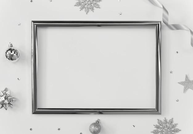 Burlarse del marco de saludo en blanco con adornos navideños y confeti.